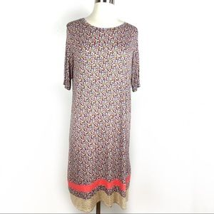 CUDDL DUDS Print Mix Dress XS Coral Ditsy Floral